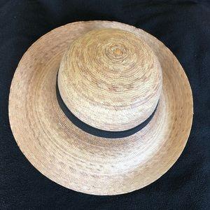 TULA womens straw black ribbon beach sun hat